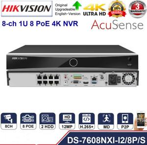 Hikvision AcuSense DS-7608NXI-I2/8P/S 12MP 8CH 8POE 4K NVR SATA Video Recorder