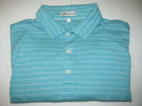 PETER MILLAR Soft 100% Cotton Stripe Short Sleeve Polo Shirt LARGE