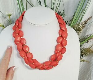 Premier Designs Faceted Coral Chunky Bead and Goldtone Multi Strand Necklace