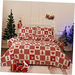 Red Plaid Christmas Bedding 3 Pcs Lightweight Patchwork King Red Heart