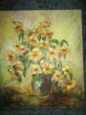 VINTAGE yellow rose floral flower original hand painted oil PAINTING by Sharrow