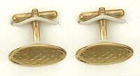 Gold Cufflinks Oval Wicker Cufflinks 9ct Solid Yellow Gold cufflinks