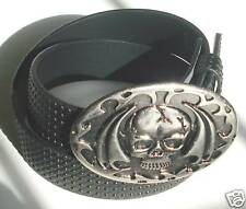 GOTH PUNK STUDDED BLACK SNAP-ON BELT WING BUCKLE L 38