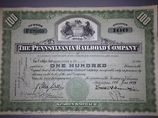 1950's Pennsylvania Railroad stock certificate with state seal vignette