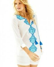 """NWTLilly Pulitzer Amelia Island Tunic""""Resort White with Blue Embroidery"""" Size M"""