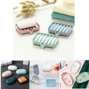 Plastic Soap Dish Holder Water Drain Tray Plate Storage Box Rack Container Tools