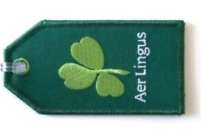 Aer Lingus Irish Airlines Shamrock Clover Logo Luggage ID Tag, embroidered cloth