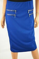 Grace Elements Women's Stretch Blue Pull on Zip-pocket Pencil Skirt S
