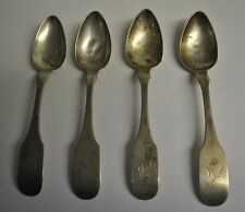 New listing Antique Robert & William Wilson R&W.W. Set of 4 Spoons Monogrammed 1800's