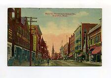 Brockton MA Mass Main Street south, stores, people, tracks, antique postcard