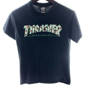 THRASHER S Small Black T-shirt Cotton Official Spellout Unisex