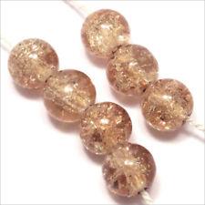 Lot de 30 Perles Craquelées en Verre 8mm Marron