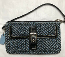 Coach Blue & Brown Tweed Fabric Wallet Wristlet With Brown Leather Trim 4.5 X 7