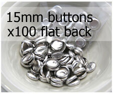 15mm self cover metal BUTTONS FLAT backs (sz 24) 100 QTY + FREE instructions