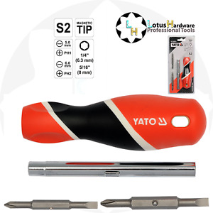 Screwdriver magnetic 4 in 1 PH1,PH2 and Slotted 5.0,6.0 S2 steel (YT-25971)