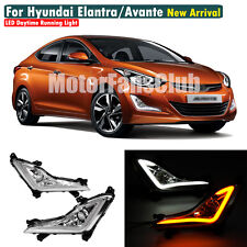 For Hyundai Elantra 2014-2016 White DRL Yellow turn signals with Fog Lamp Cover