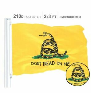 G128 – Gadsden Don't Tread on Me Flag | 2x3 ft | Embroidered Snake Yellow Flag