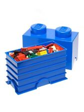 LEGO STORAGE BRICK 2 BLUE CHILDRENS STORAGE CONTAINER TOY BOX NEW