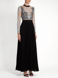 Designer Self Portrait Moni Lace Pleated Crepe Maxi Dress UK 8 10 US 4 6 RP £395