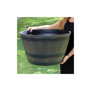 4pk Half Barrel Flower Planter Pot Wooden Oak Effect Outdoor Decoration Garden