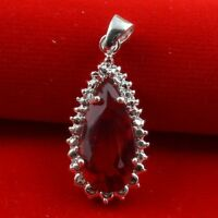 925 Silver Natural Ruby Drop Necklace Pendant Chain Women Fashion Jewelry Gift H
