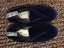 Yosi Samra Ariel Womens Blue Silver Velvet Smoking Loafers Flats Shoes Size 8