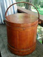 "C. Wilder & Son Wood Firkin Sugar Bucket w/ Lid & Handle 12 1/4"" Tall 12"" Dia."