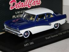 FORD TAUNUS 17M COUPE 1957 WHITE BLUE DETAIL CARS ART 382 1/43