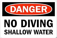 "Danger NO Diving Shallow water Pool 12"" x 8"" Aluminum Sign Pre-Drilled holes USA"