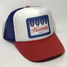 Hamms Beer Vintage Trucker Hat Snapback Mesh Cap Old Crown Logo Red White Blue