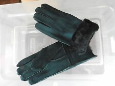 dark green ladies women 100% genuine real leather sheepskin gloves mittens