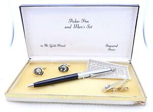 VTG PAKER PEN & MEN's SET 24k GP Gray Rhinestone Cuff Links Tie Clip Boxed Set