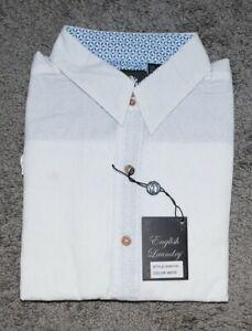 English Laundry Blaque Label Men Dress Shirt Collared White L 1086