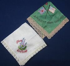 Lot of 2 Vintage Silk & Lace Embroidered Handkerchiefs England Scotland Souvenir