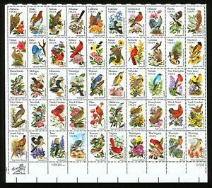 #2002C 1982 20c EFO State Birds & Flowers Color Shift Errors Full Sheet + #2002B