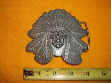 VINTAGE CHIEF SITTING BULL OF THE SIOUX INDIAN BRASS BELT BUCKLE