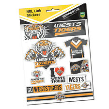 Official NRL West Tigers Deluxe Club Stickers Sticker Sheet Pack