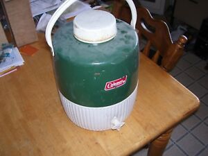 Vintage Classic Green Coleman  Water Jug Thermos Cooler Insulated