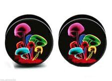 PAIR-Psychotic Mushrooms Acrylic Screw On Stash Plugs 06mm/2 Gauge Body Jewelry