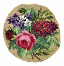 Antique Original Berlin Woolwork Hand Painted Chart Pattern Floral W Berries