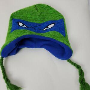 Teenage Mutant Ninja Turtles Beanie Leonardo Eyes Hat Braids TMNT Green Knit EUC