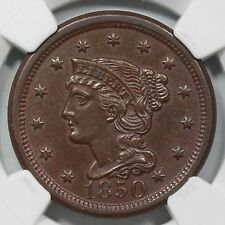 1850 N-5 R-4 NGC MS 60 BN Braided Hair Large Cent Coin 1c