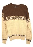 Vintage JCPenney Mens Small Sweater The Men's Shop Classic Ski 1970s Brown Crew