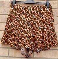 BE BEAU BLACK ORANGE DAISY FLORAL BUTTONED CULOTTE BAGGY SHORTS HOT PANTS 10 S