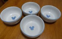 Disney Gourmet Mickey Blue & White Embossed Stoneware Bowls Soup, Cereal, Salad