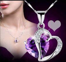 Silver Heart Necklace Pendant Purple Charm Jewelry