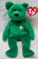 "TY Beanie Baby GREEN ERIN W/ SHAMROCK IRISH TEDDY BEAR 8"" Stuffed Animal Toy NEW"