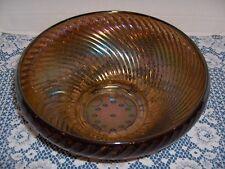 """Vintage Imperial Carnival Glass """"Swirl Rib Bowl"""" In Smoke"""
