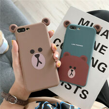 For iPhone 11 Pro XS Max 7 8+ Cute Korean cartoon ear Brown bear soft phone case