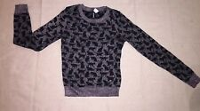 H&M Cat Sweater Divided  Pink Metallic w/ Black Novelty Size 4 Goth